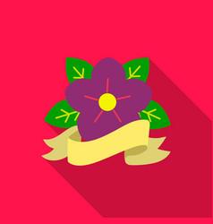 flower tattoo emblem icon flate single tattoo vector image vector image