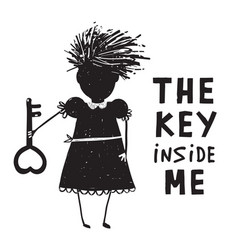 girl with key and quote sign cartoon vector image vector image