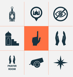 holiday icons set collection of pointer finger vector image