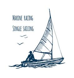 marine siling race single seaway vector image