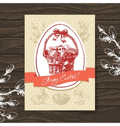 Vintage Easter greeting card vector image
