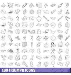 100 triumph icons set outline style vector image
