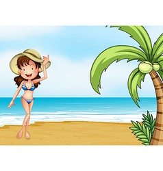 A lady wearing a swimming attire vector image