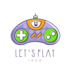 gaming controller logo let s play gamepad icon vector image