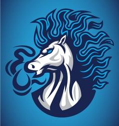 horse fire blue logo vector image