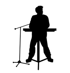 silhouettes of musicians with electronic piano vector image