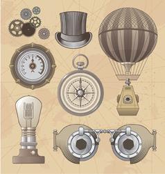 Vintage steampunk design elements vector image