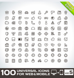 100 Universal Icons For Web and Mobile volume 5 vector