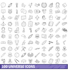 100 universe icons set outline style vector image