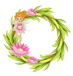 A round border design with a fairy vector image