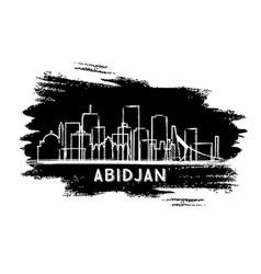 Abidjan ivory coast city skyline silhouette hand vector