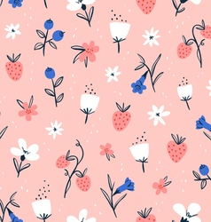 Abstract flowers and berries on pink vector
