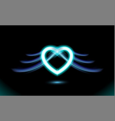 Abstract neon heart with wings gothic anime blue vector