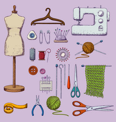 accessories for needlework vector image