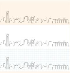 ann arbor hand drawn skyline vector image