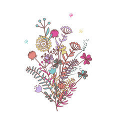 autumn bouquet doodle floral composition wirh vector image
