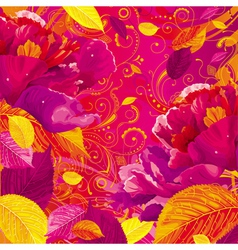 autumn peony background red vector image