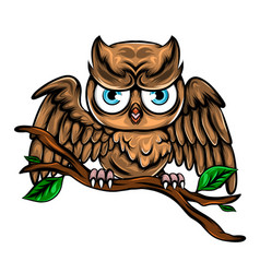 Baby brown owl perch on wooden branch vector