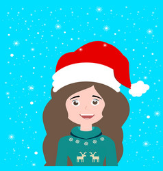 beautiful santa claus girl in a red hat and vector image
