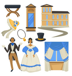 biedermeier style vintage fashion and architecture vector image