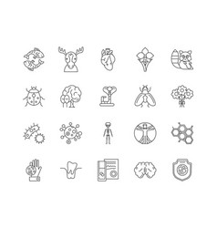 biology line icons signs set outline vector image
