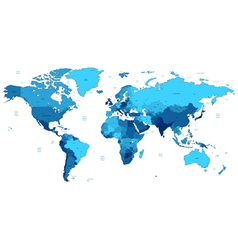 Blue detailed world map vector