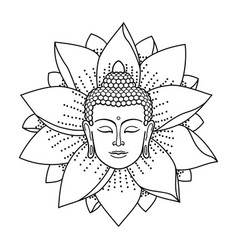 buddha head and lotus vector image