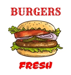 Burger fast food sketch icon vector image