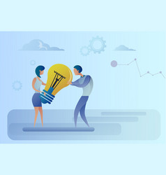 Business man and woman holding light bulb sharing vector