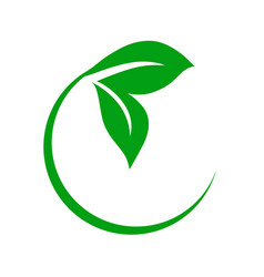 Circular green leaf icon vector