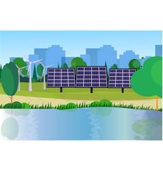 City park clean energy wind turbines solar energy vector