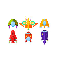 Colorful fantasy spaceships set airplanes alien vector