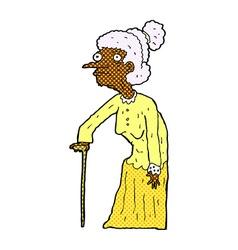 Comic cartoon old woman vector