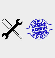 Configuration tools icon and distress admin vector