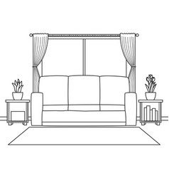 cozy living room with sofa and carpet black vector image