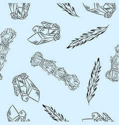 crystals feathers and sage seamless boho pattern vector image
