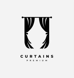 curtain logo design vector image