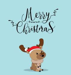 cute reindeer christmas greeting card vector image