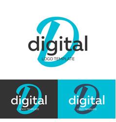Digital logo letter d logo logo template vector