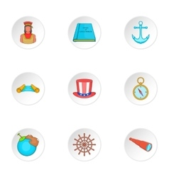 Discovery america icons set cartoon style vector