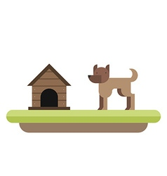 Dog standing in front of its kennel Dog house Pet vector image vector image