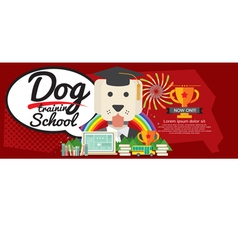 Dog Training School Super Wide Banner vector
