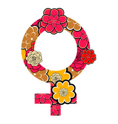female gender symbol with roses vector image