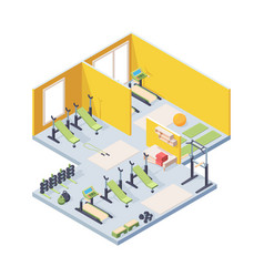 fitness gym interior isometric vector image