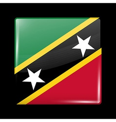 Flag of Saint Kitts and Nevis Glossy Icon Square S vector image