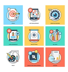 Flat Color Line Design Concepts Icons 25 vector image