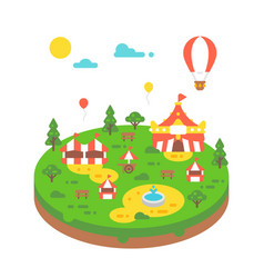 flat design amusement park vector image