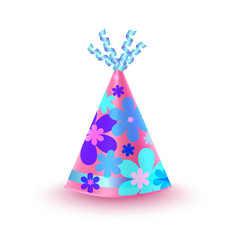 Flowery decorated pink party hat icon vector
