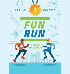 Fun running charity marathon poster vector