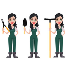 gardener woman cartoon character in uniform vector image